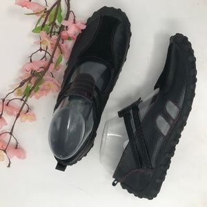 Bernie Mev Black Pebbled Leather Driving Loafers